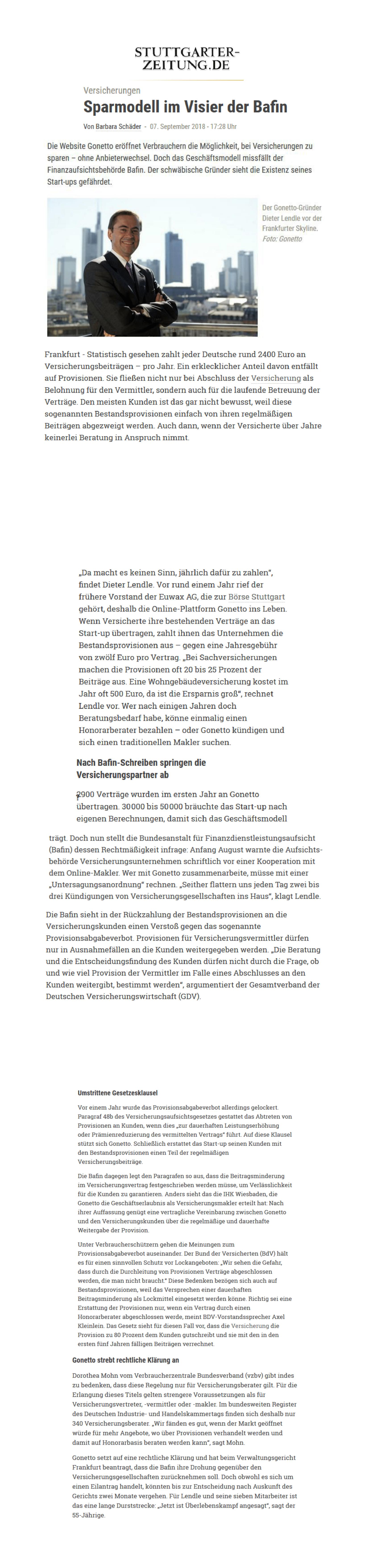 gonetto Presse-Clipping: Stuttgarter Zeitung vom  07. September 2018 - 07.09.2018 - Sparmodell im Visier der Bafin