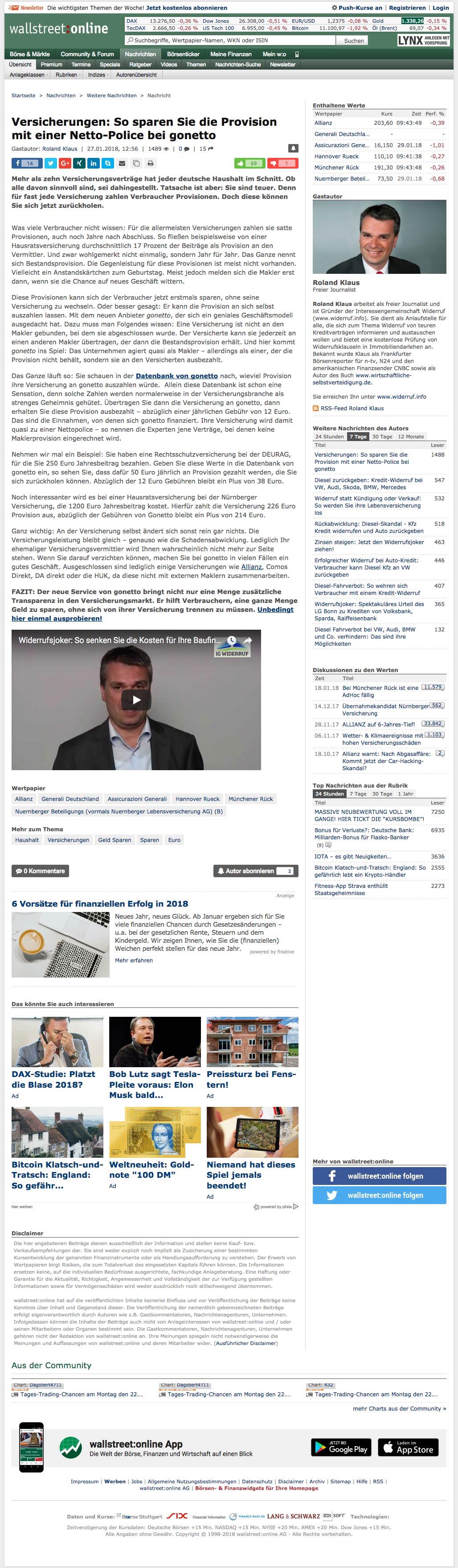gonetto Presse-Clipping: wallstreet online vom  27. Januar 2018 - 27.01.2018 -  Versicherungen: So sparen Sie die Provision mit einer Netto-Police bei gonetto