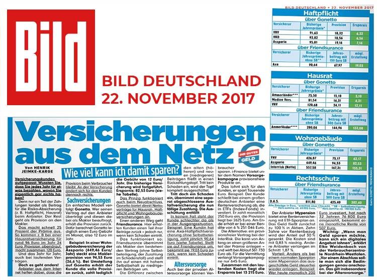 gonetto Presse-Clipping: BILDZEITUNG 22. November 2017 - 22.11.2017 - Versicherungen aus dem Netz - Wie viel kann ich damit sparen?