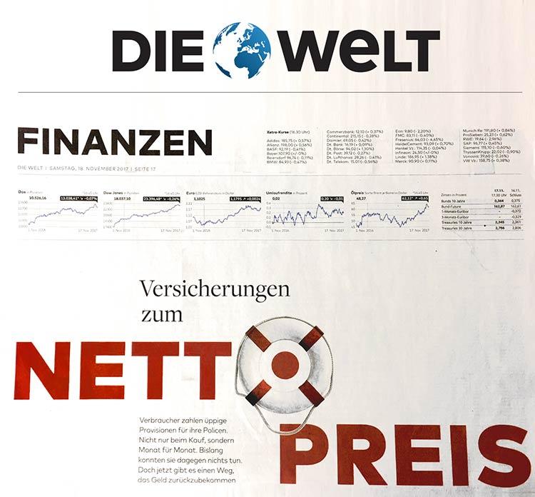 gonetto Presse-Clipping: DIE WELT  18. November 2017 - 18.11.2017 - Versicherungen zum Nettopreis - Verbraucher zahlen üppige Provisionen für ihre Versicherungen. Nicht nur beim Kauf....