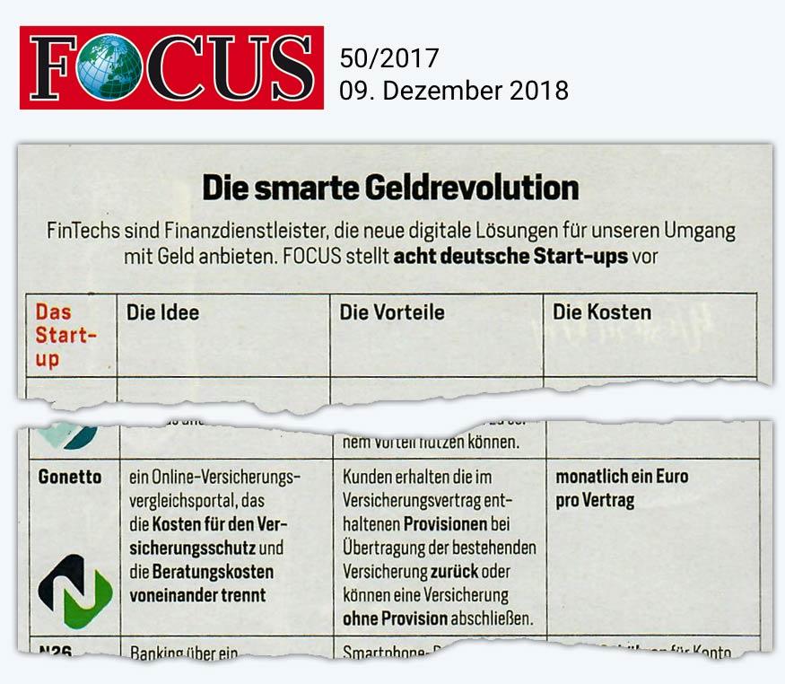gonetto Presse-Clipping: FOCUS 49/2017 vom  09. Dezember 2017 - 09.12.2017 - Die smarte Geldrevolution