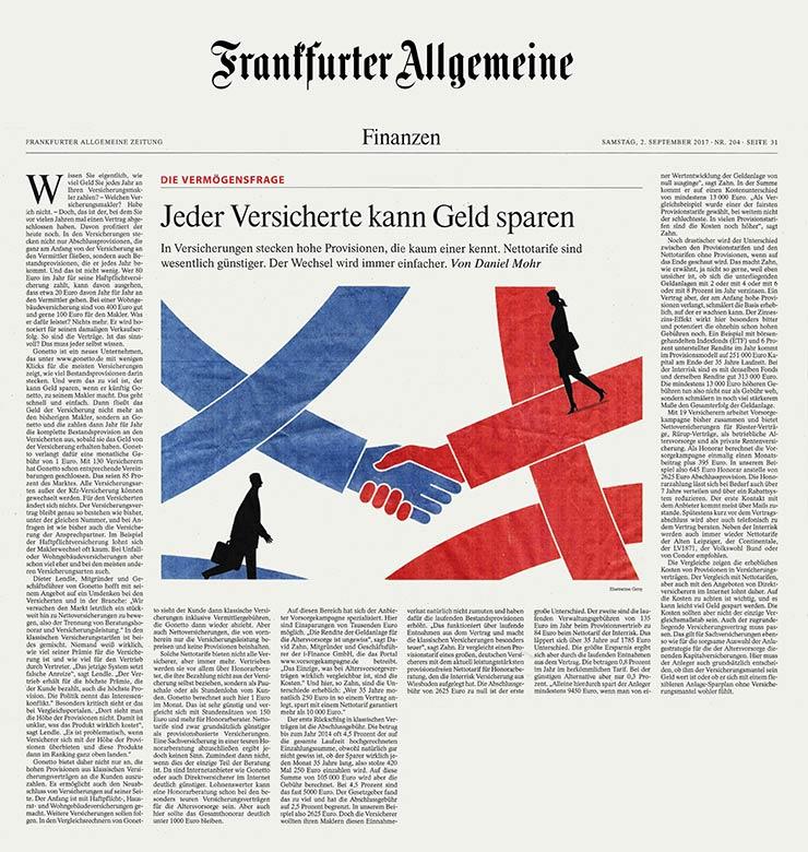 gonetto Presse-Clipping: F.A.Z. Frakfurter Allgemeine Zeitung - Jeder Versicherte kann Geld sparen - 02.09.2017