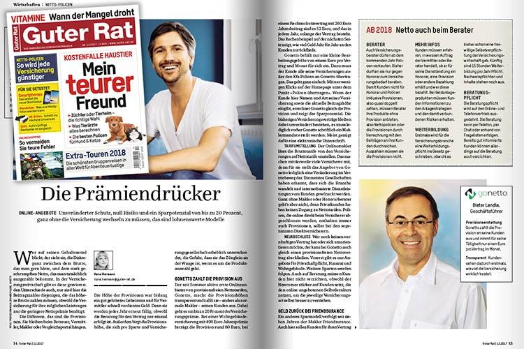 gonetto Presse-Clipping: Guter Rat 12/2017 - Die Prämiendrücker - Unveränderter Schutz, null Risiko und ein Sparpotenzial von bis zu 20 Prozent...